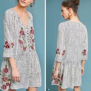 Akemi + Kin Pansy Embroidered Drop-Waist Dress NWT